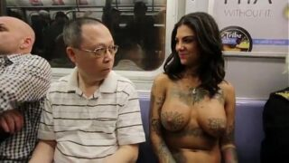 Bonnie Rottenwalking topless in NYC
